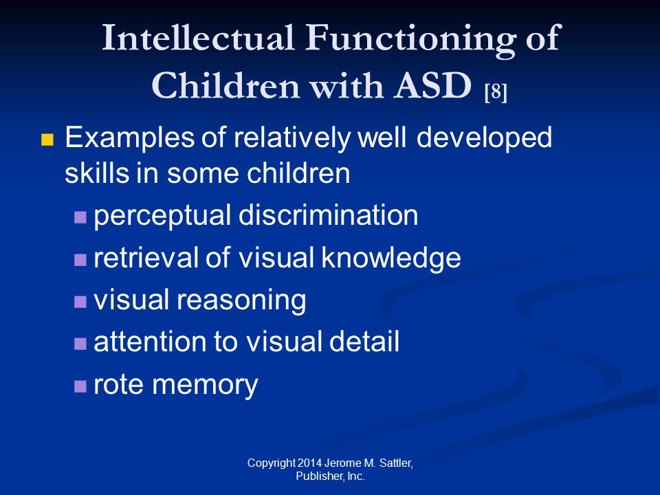 Intellectual Functioning of Children with ASD [8]